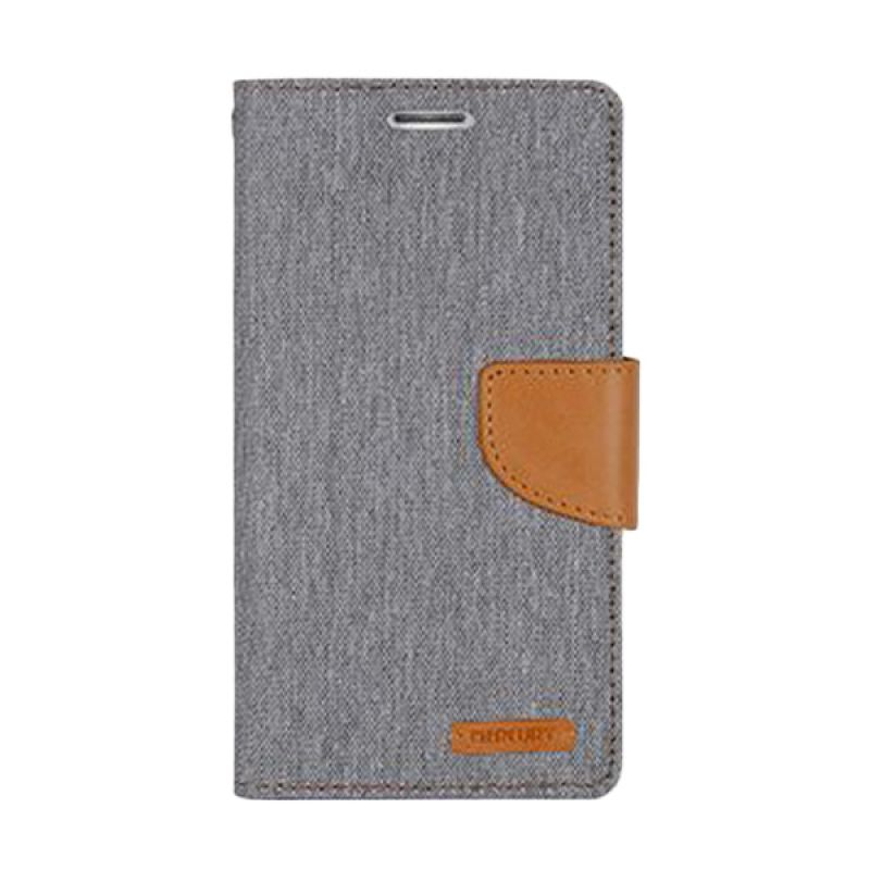 Mercury Goospery Canvas Diary Grey Camel Casing for Sony Xperia C3