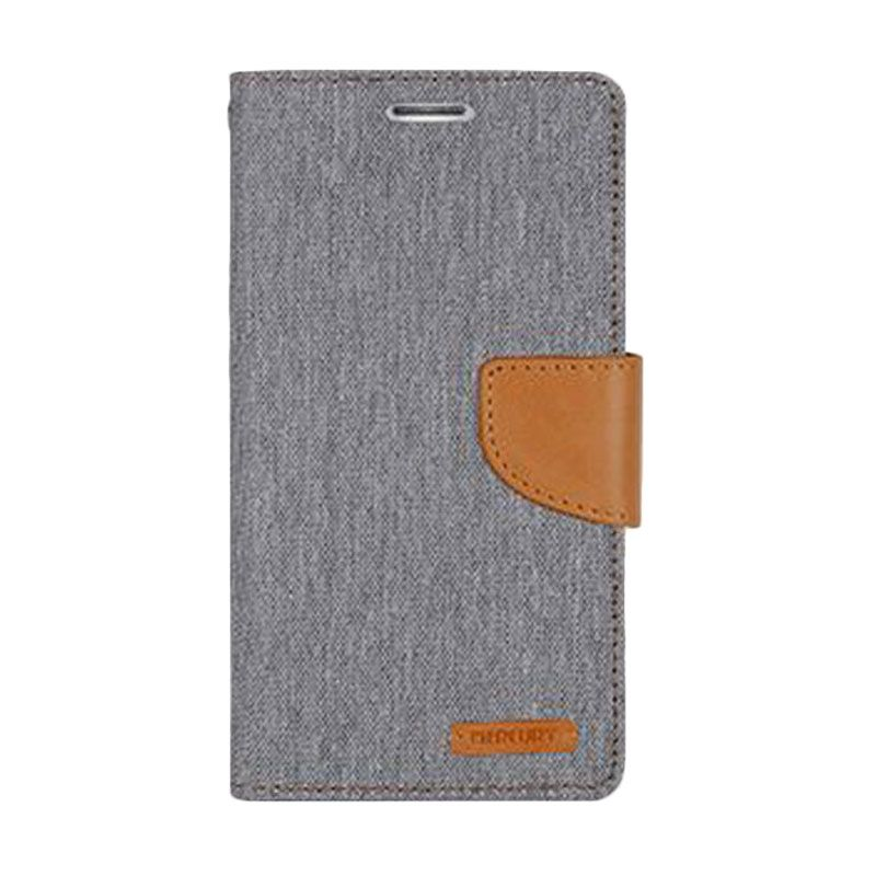 Mercury Goospery Canvas Diary Grey Casing for Galaxy S5