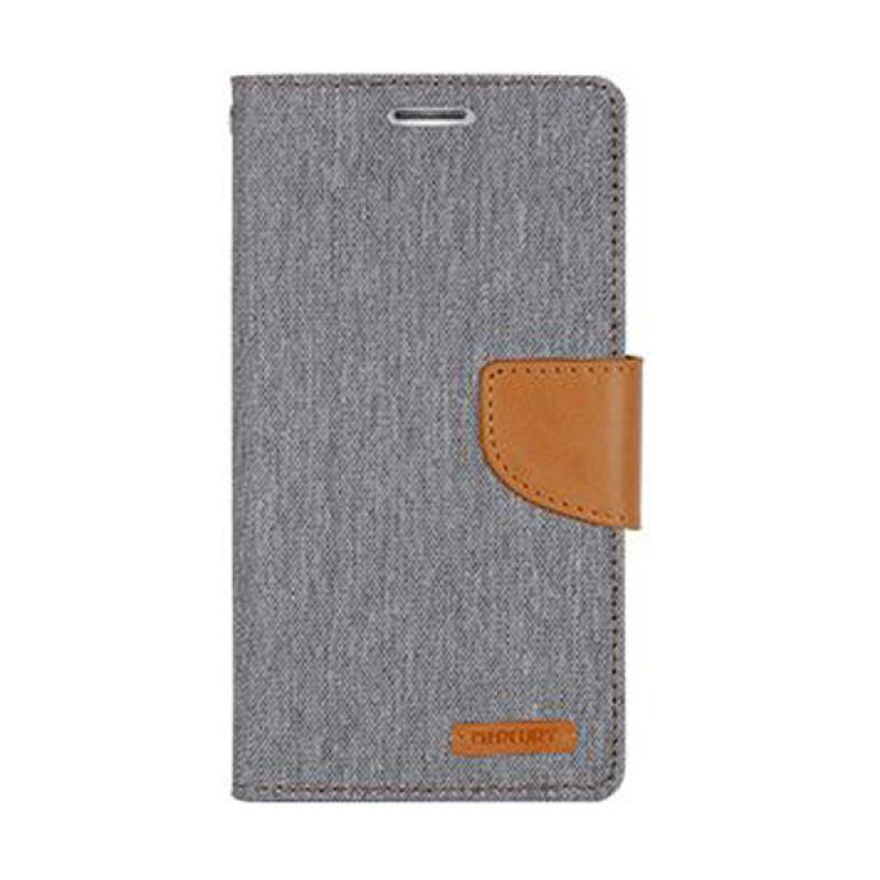Mercury Goospery Canvas Diary Grey Casing for Galaxy Note 4 Edge