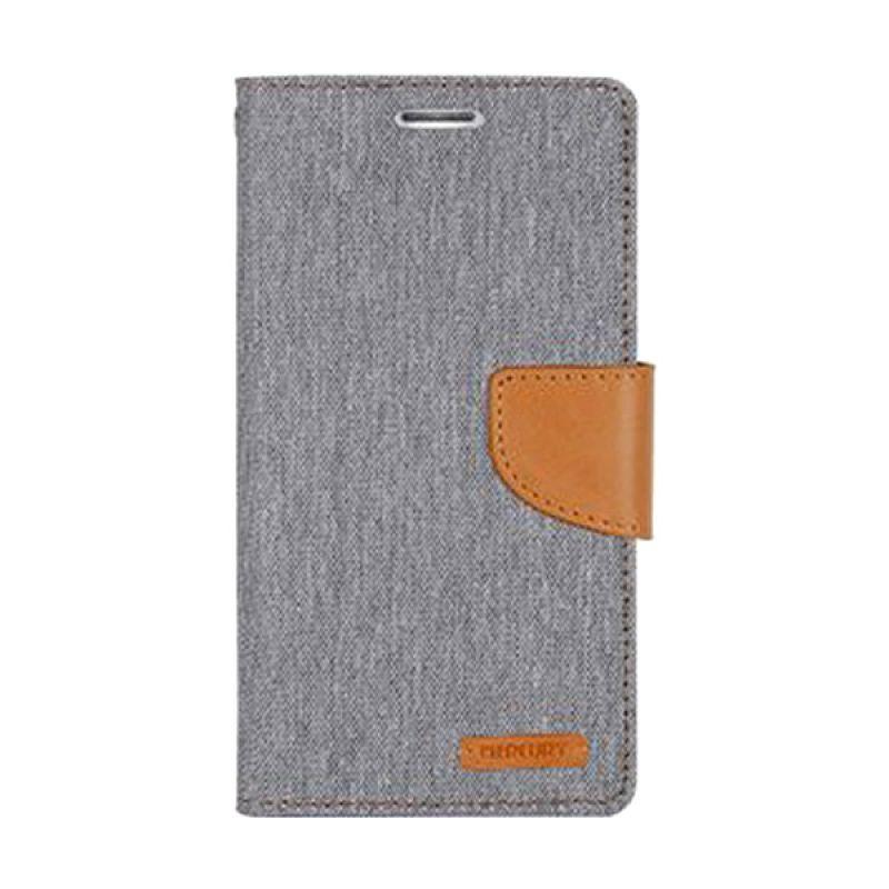 Mercury Goospery Canvas Diary Grey Casing for Galaxy S6