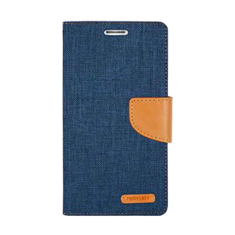 Mercury Goospery Canvas Diary Navy Casing for Galaxy Grand Prime