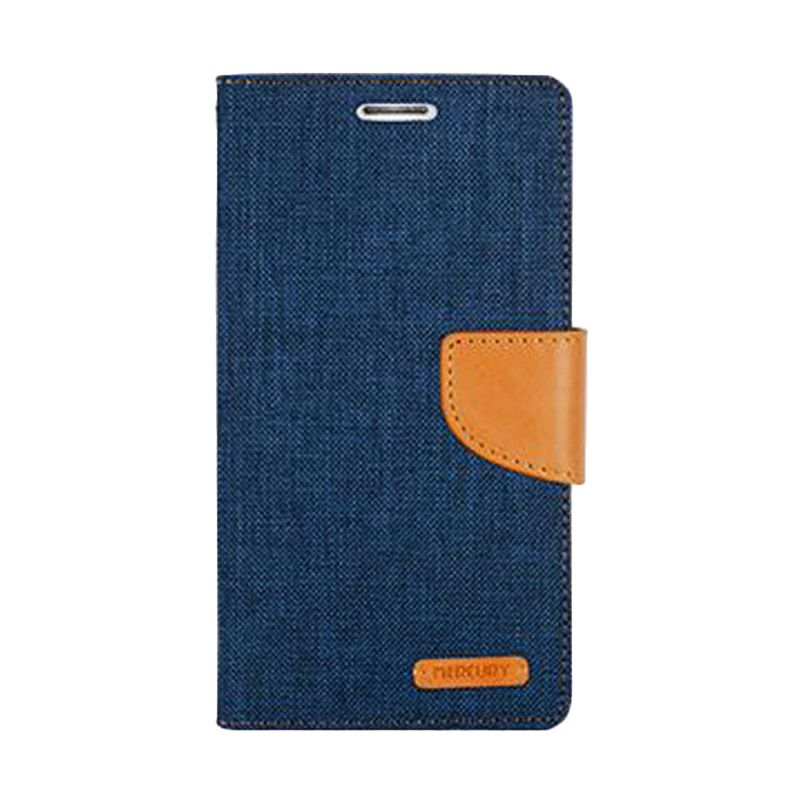 Mercury Goospery Canvas Diary Navy Casing for Galaxy S6 Edge
