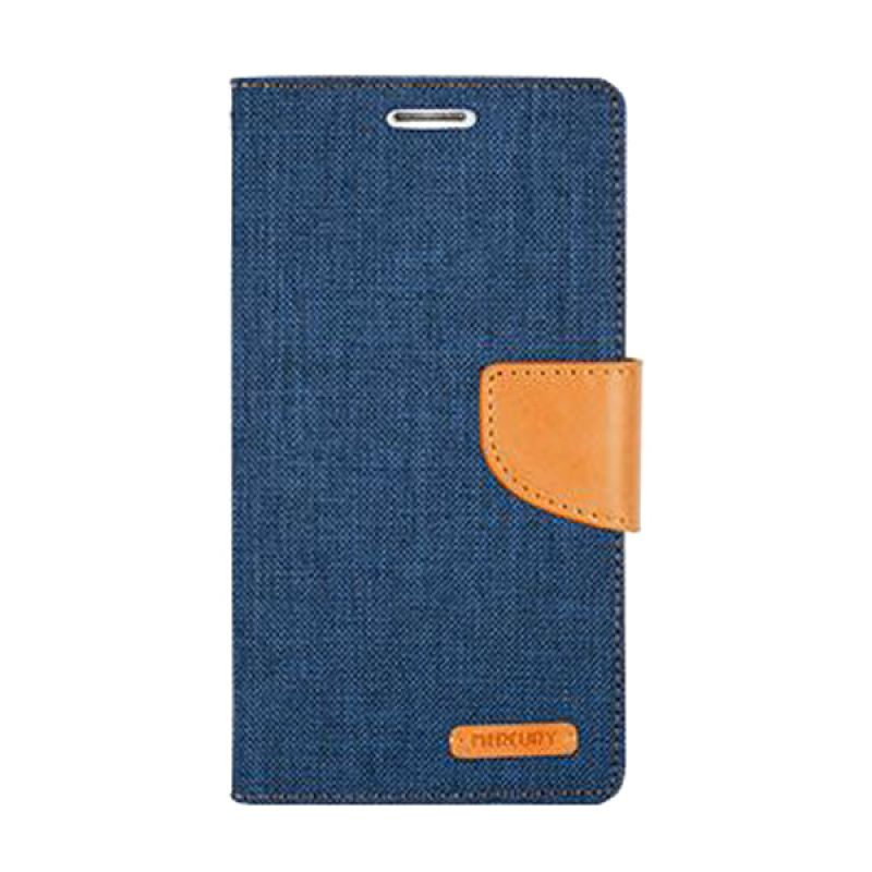 Mercury Goospery Canvas Diary Navy Casing for Galaxy S6