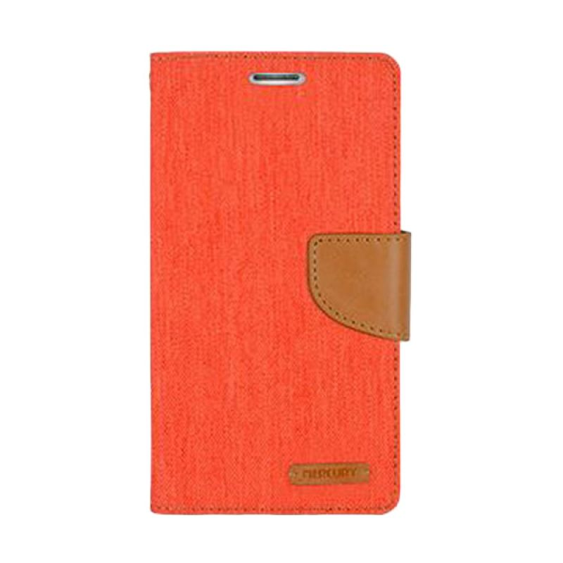 Mercury Goospery Canvas Diary Orange Camel Casing for Sony Xperia C3