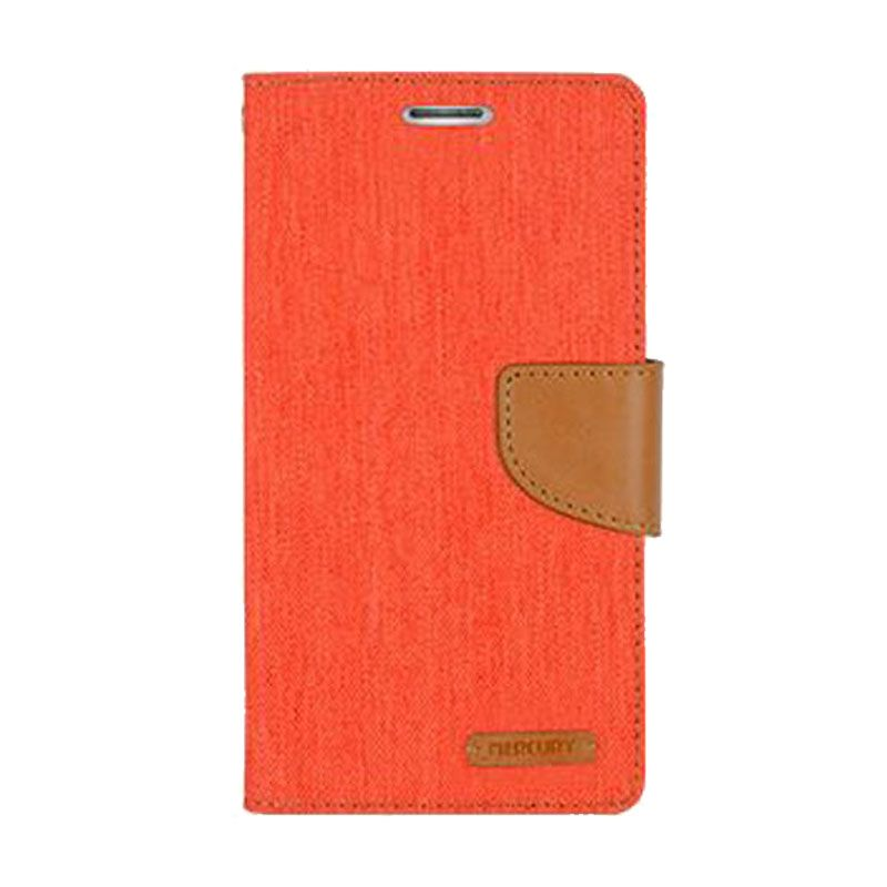 Mercury Goospery Canvas Diary Orange Casing for Galaxy S4