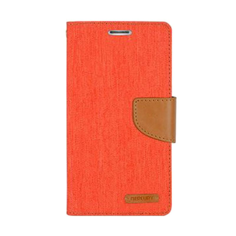 Mercury Goospery Canvas Diary Orange Casing for Galaxy Note 3