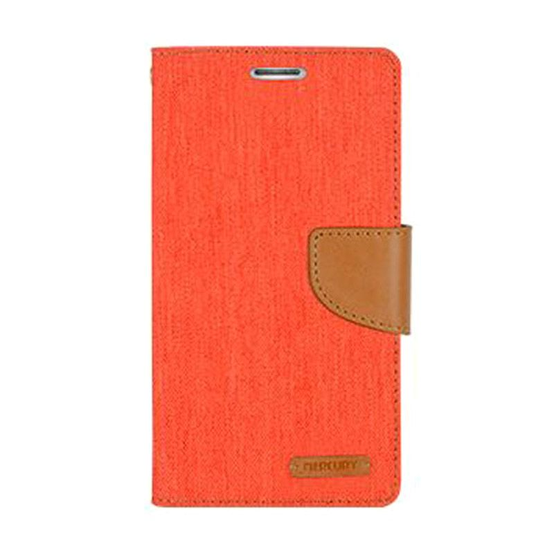 Mercury Goospery Canvas Diary Orange Casing for Galaxy S5