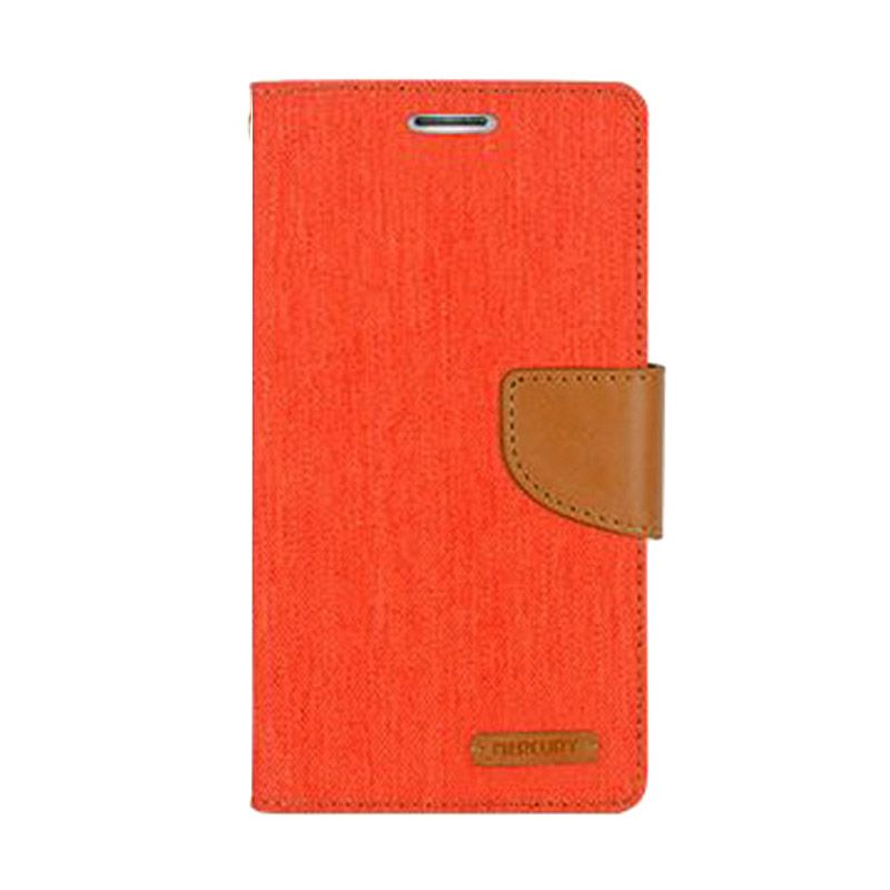 Mercury Goospery Canvas Diary Orange Casing for Galaxy S6 Edge