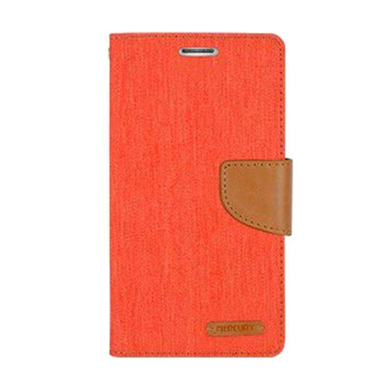 Mercury Goospery Canvas Diary Orange Casing for iPhone 5 or 5S
