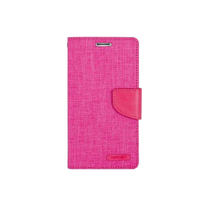 Mercury Goospery Canvas Diary Pink Casing for Galaxy A7