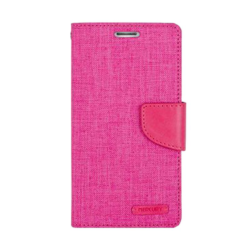 Mercury Goospery Canvas Diary Pink Casing for Galaxy Grand Neo