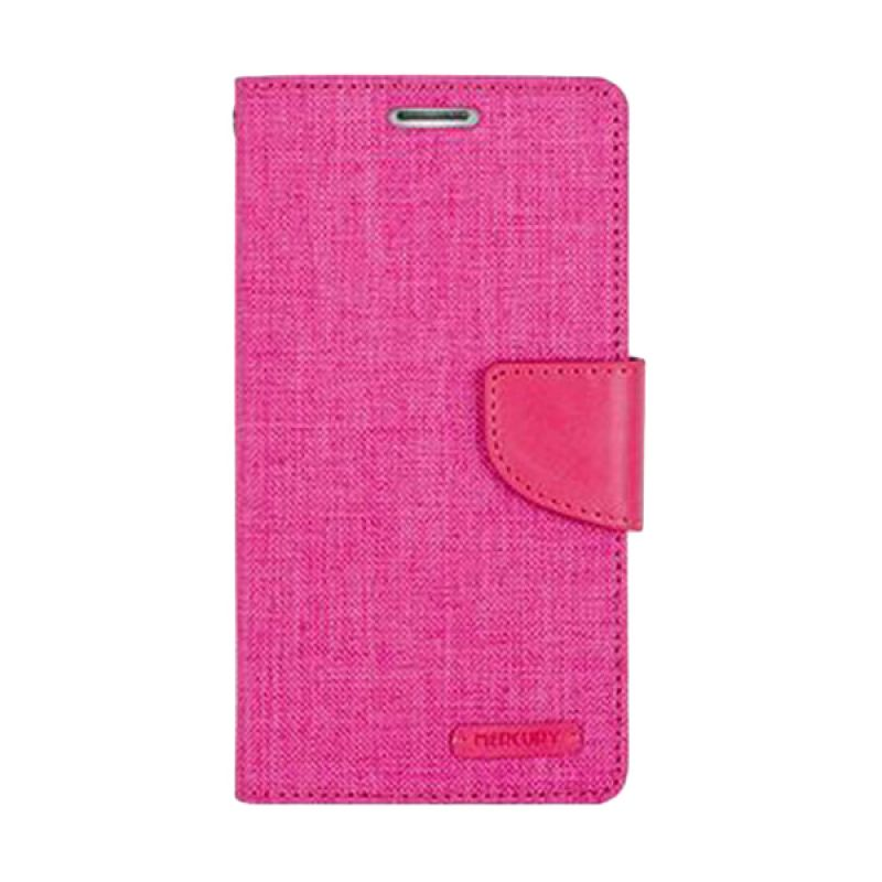 Mercury Goospery Canvas Diary Pink Casing for Galaxy E7