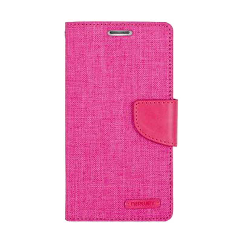Mercury Goospery Canvas Diary Pink Casing for Galaxy Grand Prime