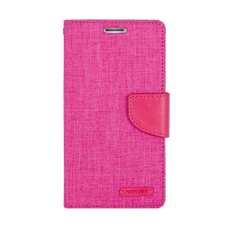 Mercury Goospery Canvas Diary Pink Casing for Galaxy Note 4