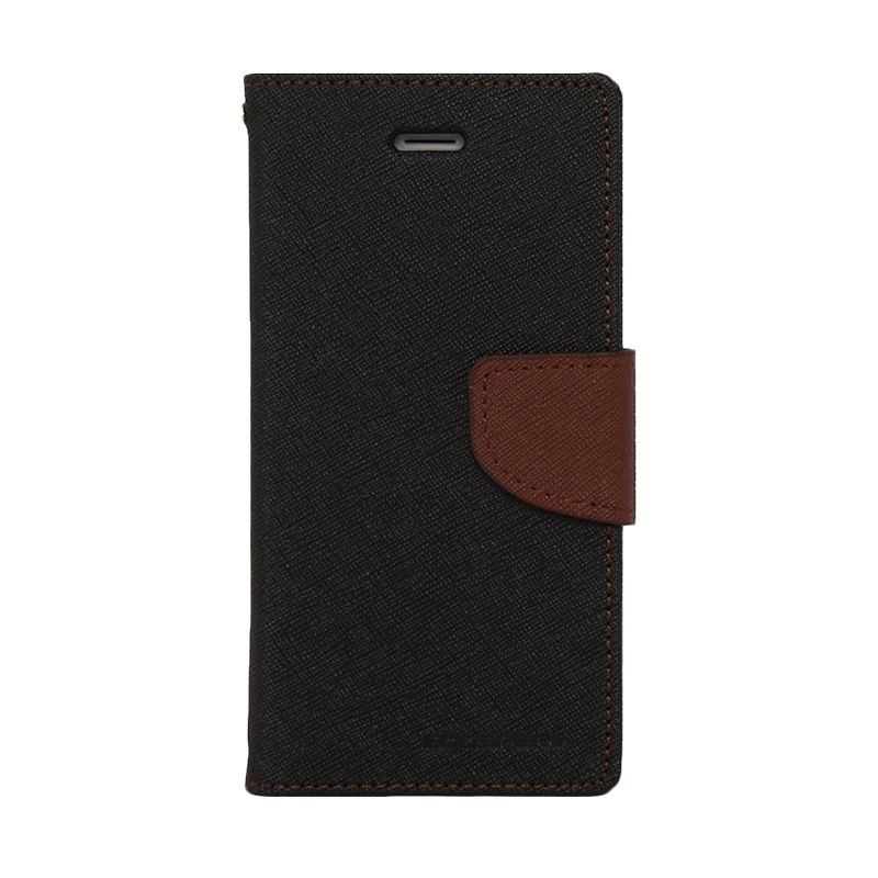 Mercury Goospery Fancy Diary Black Brown Casing for Galaxy A7
