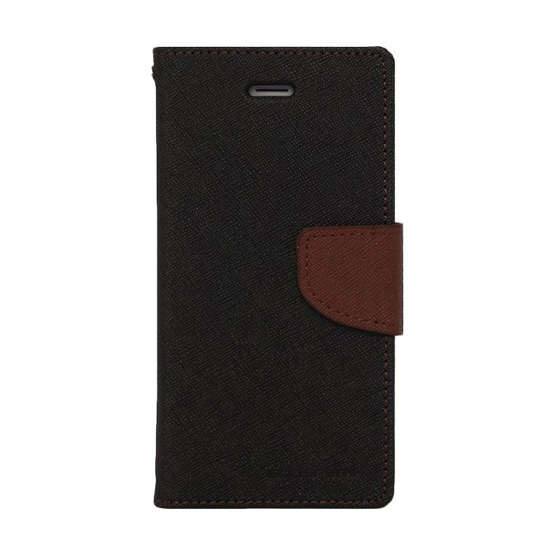 Mercury Goospery Fancy Diary Black Brown Casing for Galaxy E5