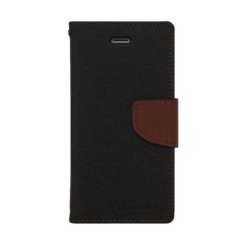 Mercury Goospery Fancy Diary Black Brown Casing for HTC One Mini