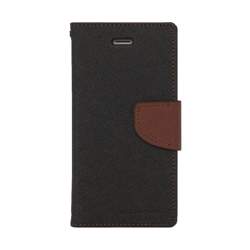 Mercury Goospery Fancy Diary Black Brown Casing for Samsung Galaxy Note 4