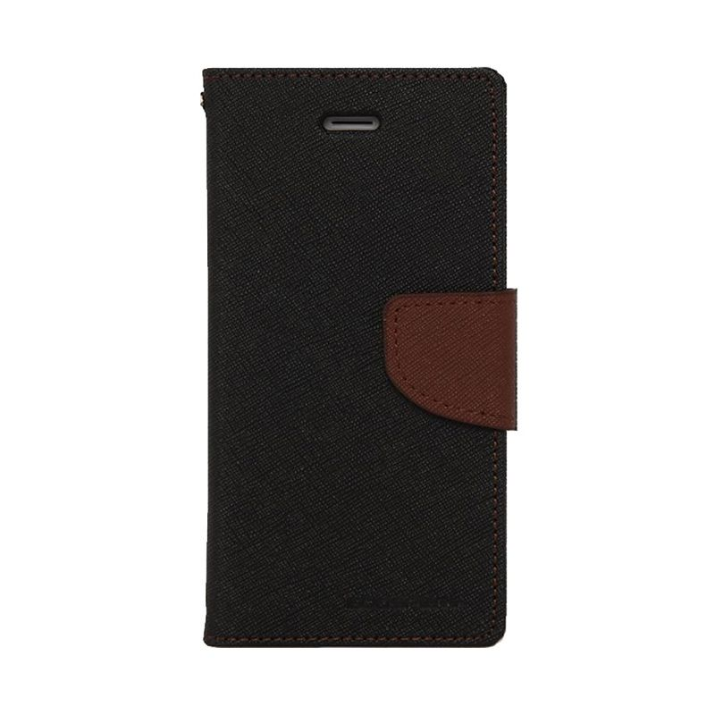 Mercury Goospery Fancy Diary Black Brown Flip Cover Casing for Galaxy E3