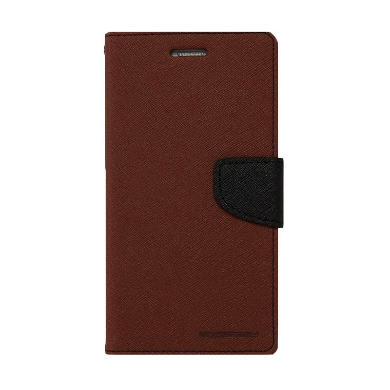 Mercury Goospery Fancy Diary Brown Black Casing for Galaxy S6