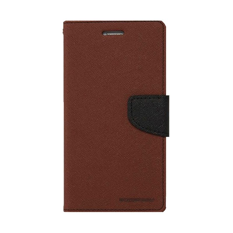 Mercury Goospery Fancy Diary Brown Black Casing for Iphone 6 Plus