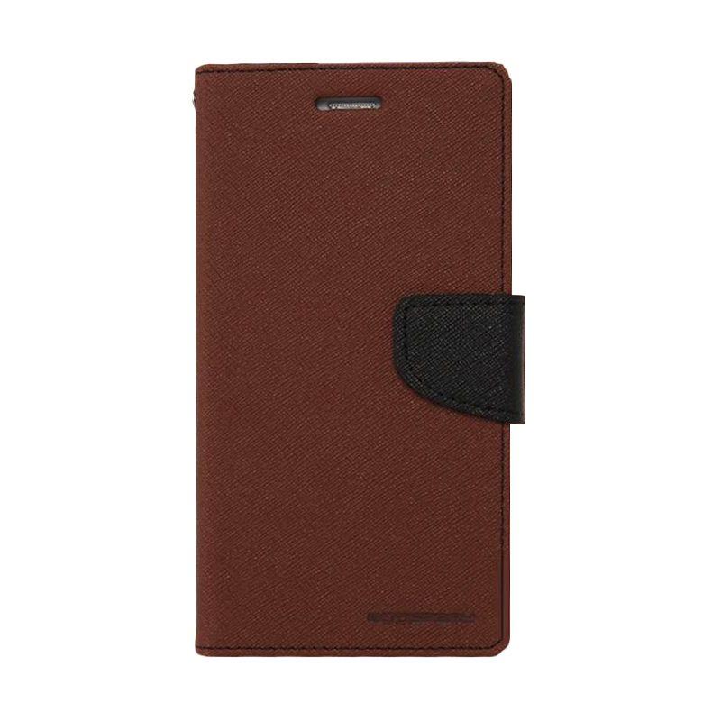 Mercury Goospery Fancy Diary Brown Black Casing for Samsung Galaxy Note 3 Neo