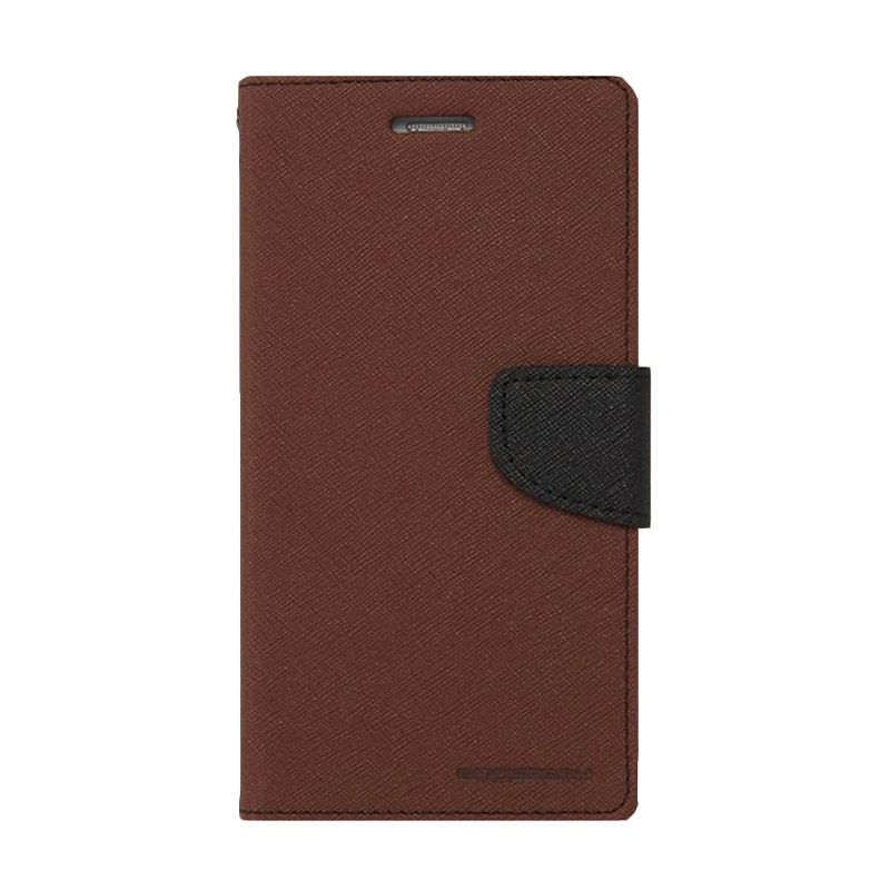 Mercury Goospery Fancy Diary Brown Black Casing for Samsung Galaxy Note 4 edge