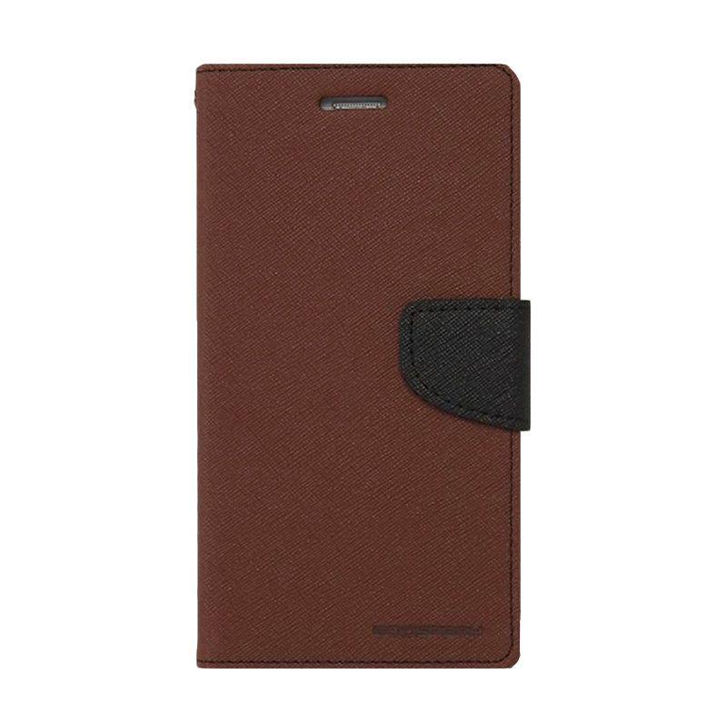 Mercury Goospery Fancy Diary Brown Black Casing for Samsung Galaxy Note 4