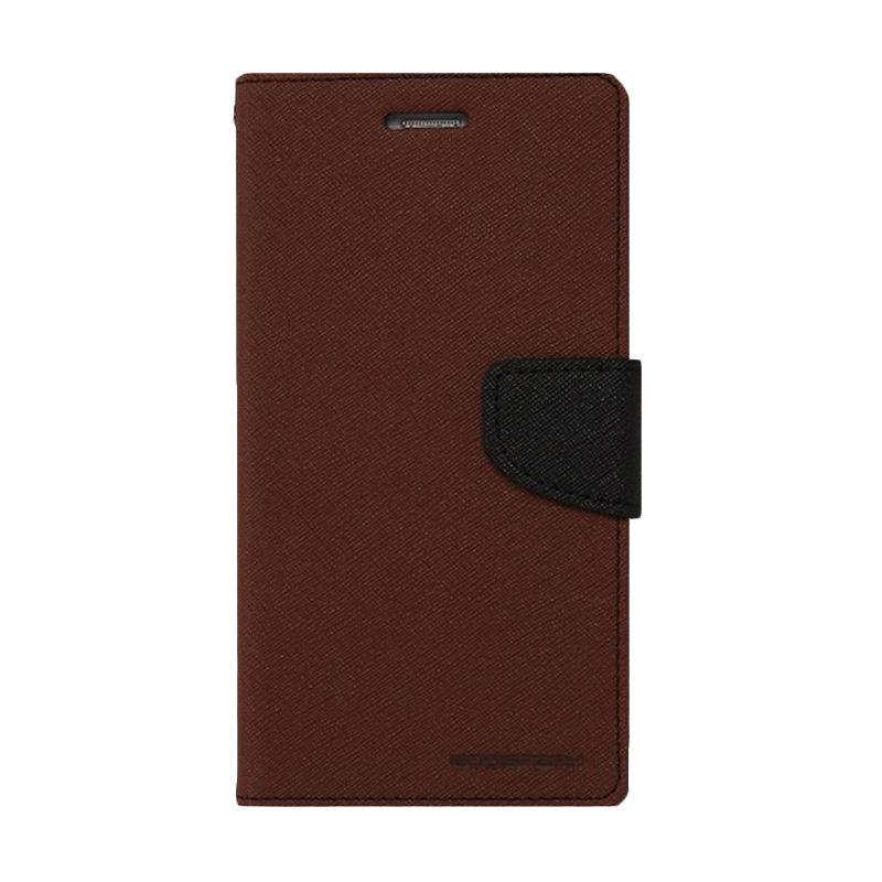 Mercury Goospery Fancy Diary Brown Black Casing for Xiaomi Mi4i