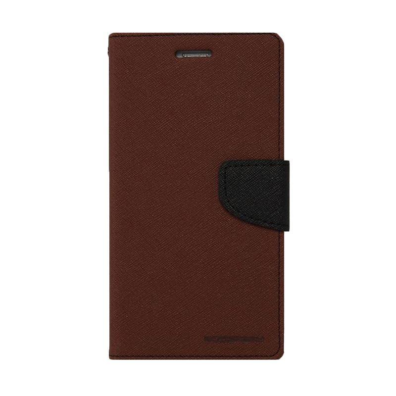 Mercury Goospery Fancy Diary Brown Black Casing for Xiaomi Note 2