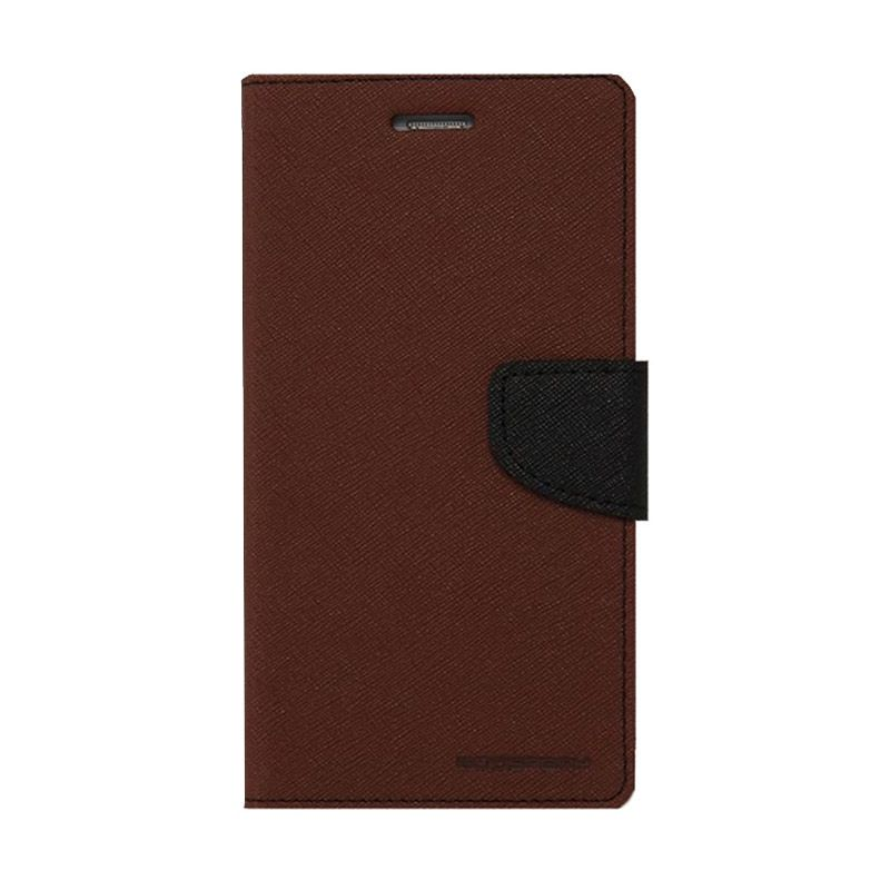 Mercury Goospery Fancy Diary Brown Black Casing for Xperia ZR