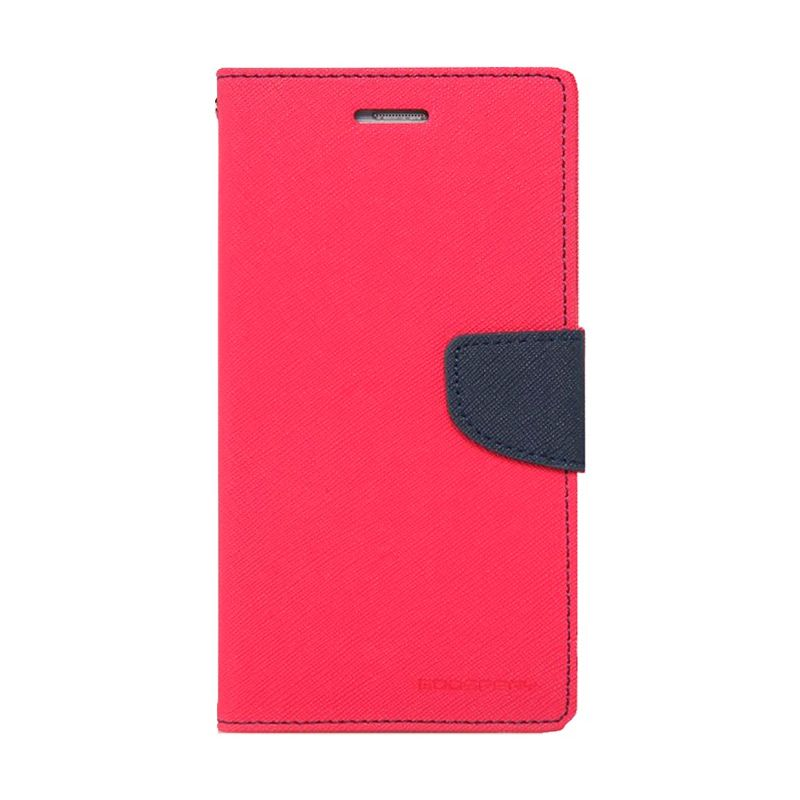 Mercury Goospery Fancy Diary Hot Pink Navy Casing for Galaxy A7