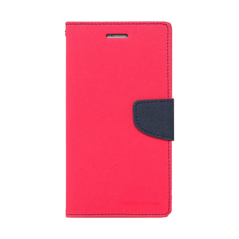 Mercury Goospery Fancy Diary Hot Pink Navy Casing for Galaxy S6