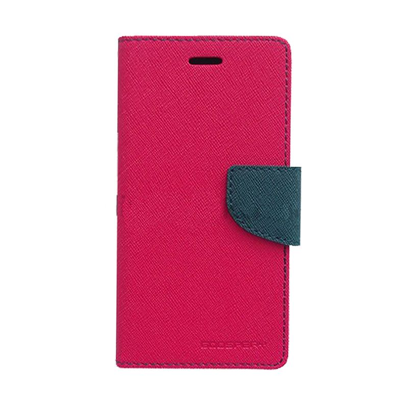 Mercury Goospery Fancy Diary Hot Pink Navy Flip Cover Casing for Galaxy Ace 4