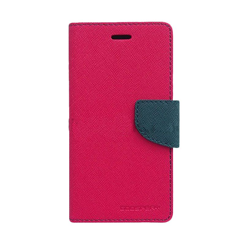 Mercury Goospery Fancy Diary Hot Pink Navy Flip Cover Casing for Xiaomi Note 2