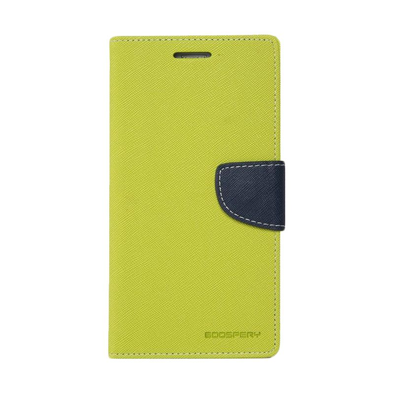 Mercury Goospery Fancy Diary Lime Navy Casing for Galaxy Mega 5.8
