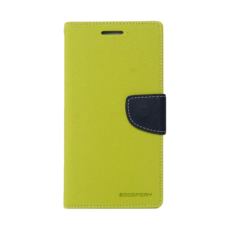 Mercury Goospery Fancy Diary Lime Navy Casing for Galaxy Mega 6.3