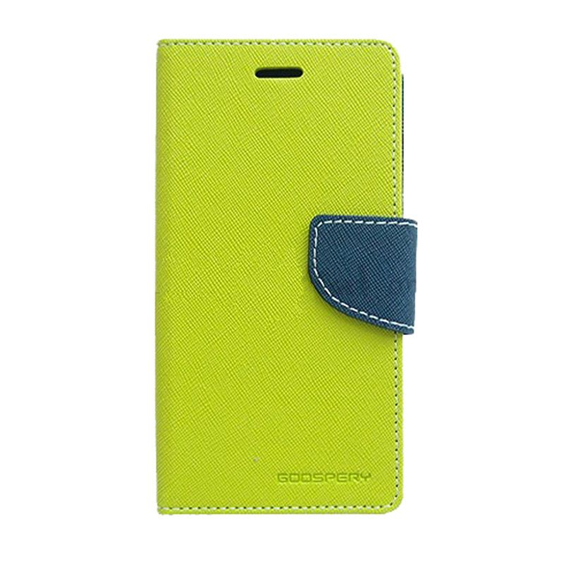 Mercury Goospery Fancy Diary Lime Navy Casing for Galaxy Note 4