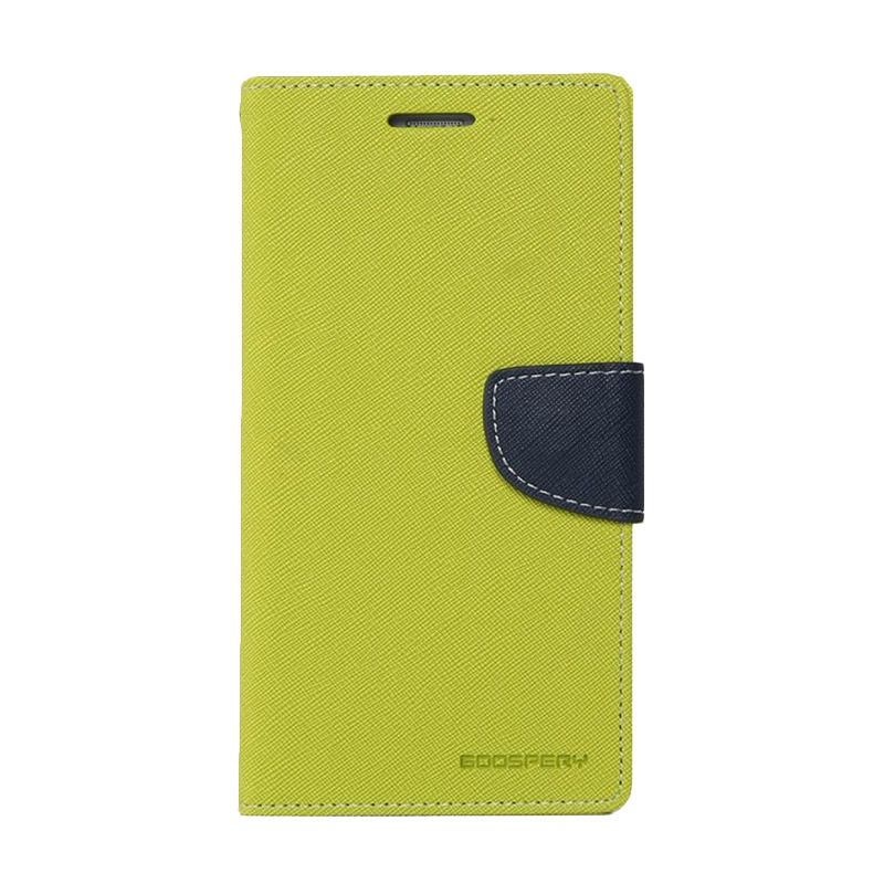 Mercury Goospery Fancy Diary Lime Navy Casing for Samsung Galaxy Note 4 edge