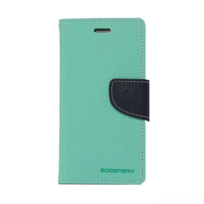 Mercury Goospery Fancy Diary Mint Navy Flip Cover Casing for Galaxy Note 4