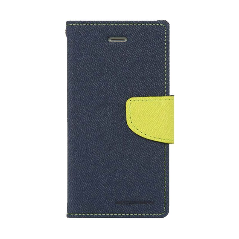 Mercury Goospery Fancy Diary Navy Lime Casing for Galaxy Mega 2
