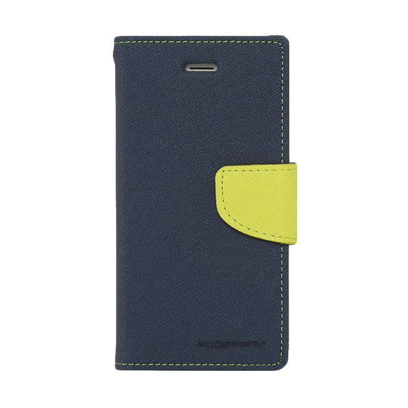 Mercury Goospery Fancy Diary Navy Lime Casing for Galaxy Mega 5.8