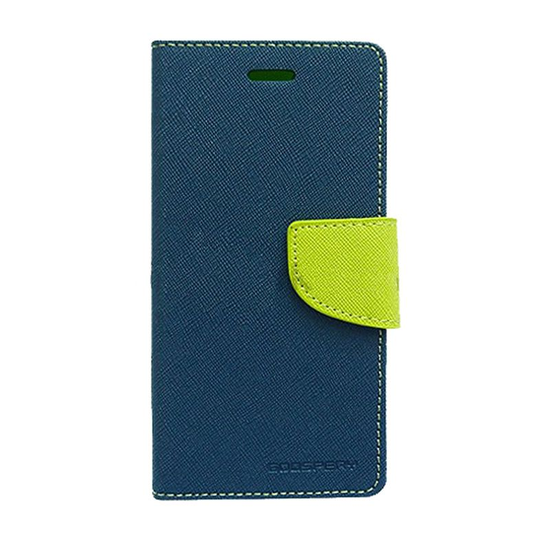 Mercury Goospery Fancy Diary Navy Lime Casing for Galaxy Note 2