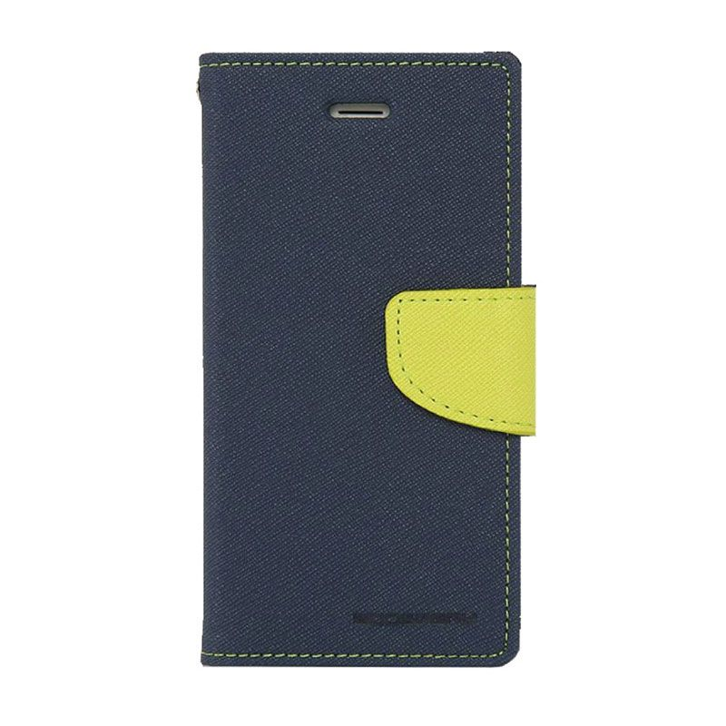 Mercury Goospery Fancy Diary Navy Lime Casing for Galaxy Note 3