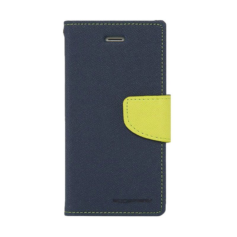 Mercury Goospery Fancy Diary Navy Lime Casing for Galaxy S5