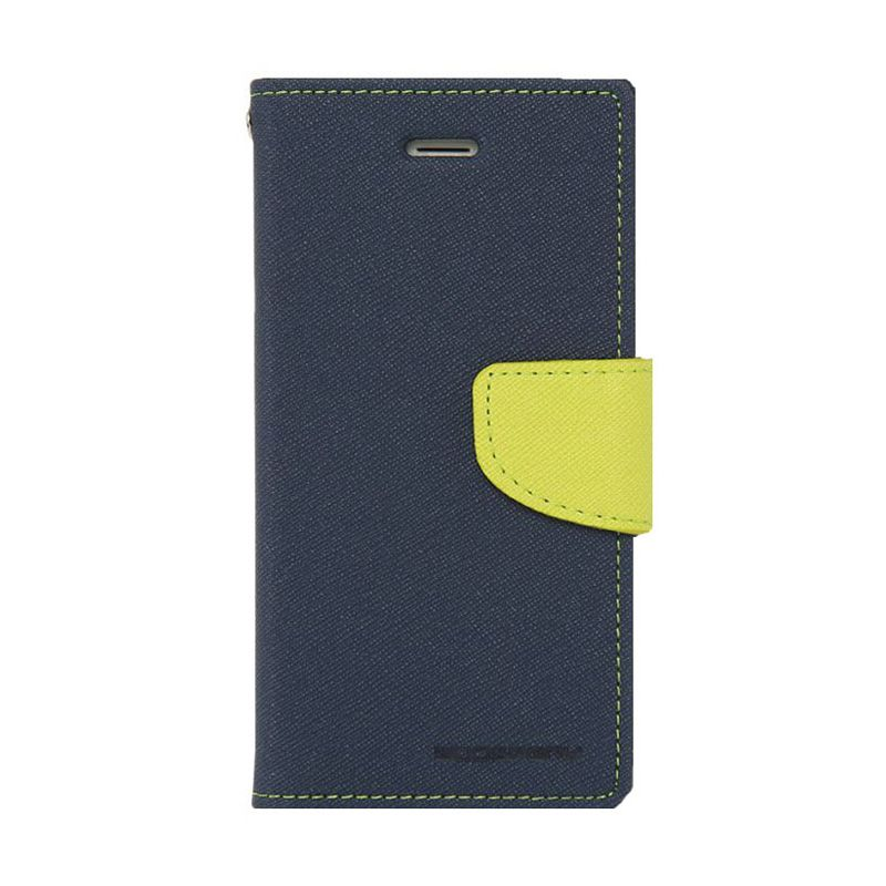 Mercury Goospery Fancy Diary Navy Lime Flip Cover Casing for Galaxy Note Edge