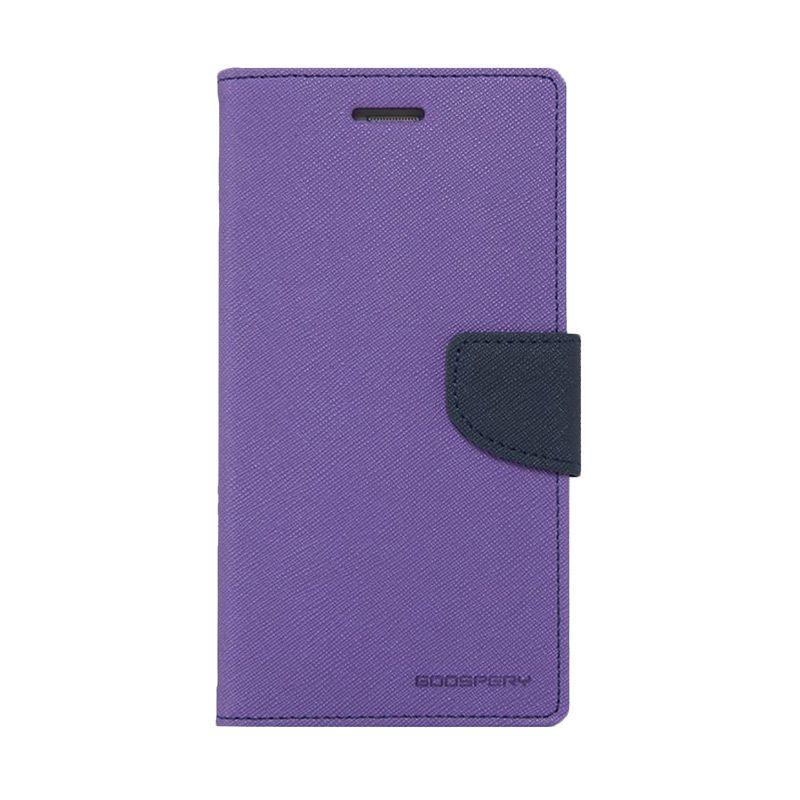 Mercury Goospery Fancy Diary Purple Navy Casing for Galaxy Mega 6.3