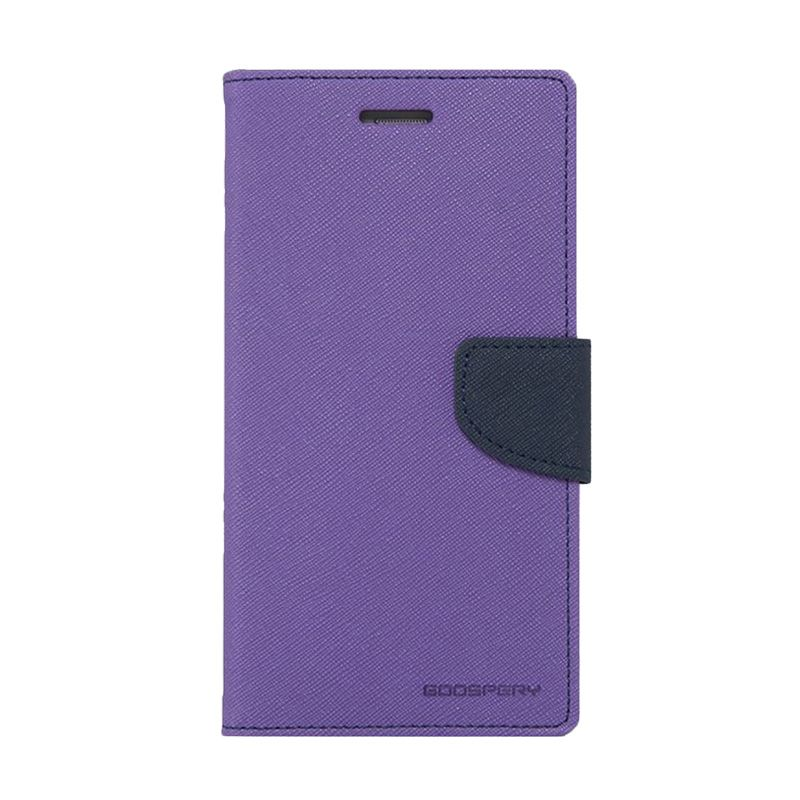 Mercury Goospery Fancy Diary Purple Navy Casing for Samsung Galaxy Note 4