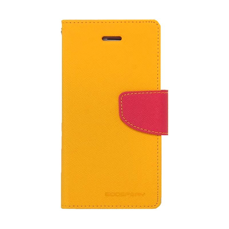 Mercury Goospery Fancy Diary Yellow Hot Pink Casing for Galaxy A7