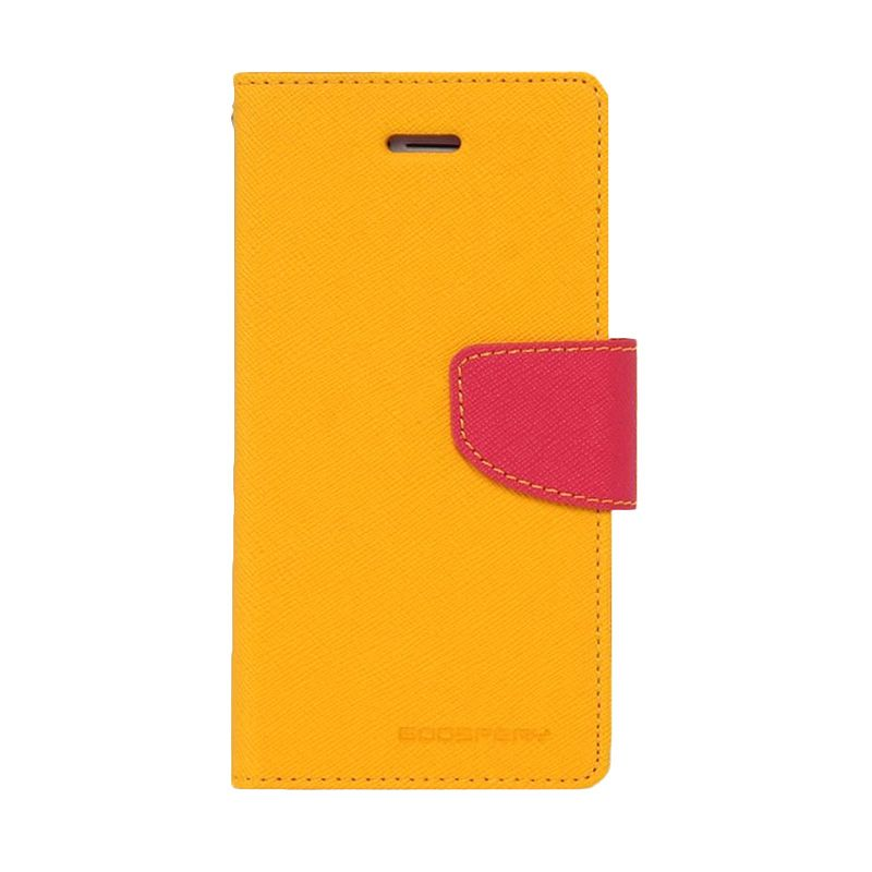 Mercury Goospery Fancy Diary Yellow Hot Pink Casing for Galaxy S6